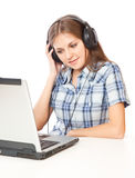 A Girl Is Listening To The Music Royalty Free Stock Photography