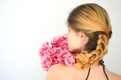 A Girl With A Bouquet Of Tulips Royalty Free Stock Images