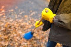 Free A Girl With A Smile, In A Jacket, In Yellow Gloves Between Two Trees In An Autumn Park Stock Photography - 104539462