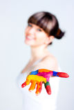 A Girl With Colored Hands Royalty Free Stock Photography
