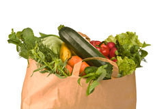 A Grocery Bag Full Of Vegetables Royalty Free Stock Photography