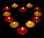 A Heart Of Coloured Candles Royalty Free Stock Image