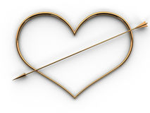 A Heart Of Gold And A Golden Arrow Royalty Free Stock Images