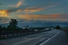 Free A Highway Road At Dusk Stock Image - 188489851