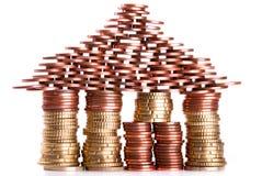 A House Build Of Coins Stock Photos