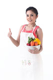A Housewife Thump Up And Hold A Bowl Of Vegetables Royalty Free Stock Image