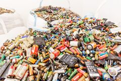 Free A Large Bunch Of Batteries Piled Up For Disposal Stock Images - 215444714