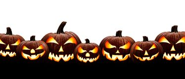 Free A Large Group Of Seven Spooky Halloween Lanterns, Jack O Lantern, With Evil Face And Eyes Royalty Free Stock Photo - 196394825