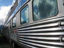 A Large Silver Passenger Train Stock Photos