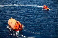 Free A Lifeboat Or Life Raft Carried For Emergency Evacuation In The Event Of A Disaster Aboard A Ship. Royalty Free Stock Image - 193896456