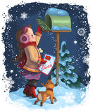 A Little Girl Posting A Letter To Santa Royalty Free Stock Images