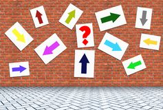 Free A Lot Of Arrows Pointing In Different Directions On The Wall Stock Image - 126219291