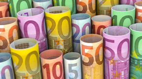Free A Lot Of Euro Notes Rolled Stock Photo - 168084570