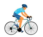 Free A Male Bicyclist Riding A Bicycle Isolated Against White Background Vector Illustration. Sportsman In Race. Giro, Tour. Stock Photography - 183613932