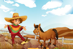 Free A Man And A Horse Near The Rocks Royalty Free Stock Photos - 34713798