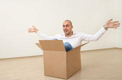 A Man In A Box Royalty Free Stock Photography