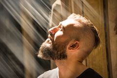 Free A Man Is Having An Illumination Moment With God. Royalty Free Stock Image - 156597386