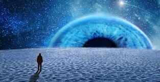 Free A Man On Extraterrestrial Lanet And Alien Eye Stock Image - 209277991
