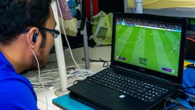 Free A Man Playing Fifa 19 On Gaming Laptop Using A Console Royalty Free Stock Photography - 160287767