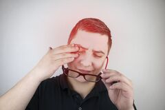 Free A Man Rubs His Tired Eyes With His Hands On A White Background. The Concept Of Eye Fatigue From The Computer And Fatigue From Work Stock Photo - 179853530