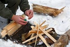 Free A Man Strikes A Match To Make A Fire. Stock Photos - 80046923
