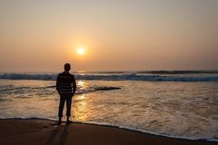 Free A Man Watching Sunrise In Sea Beach From Digha Popular Spot Of Westbengal Royalty Free Stock Photography - 144604857