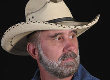 A Man With A Beard In A White Cowboy Hat Stock Images