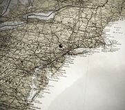 A Map Of The East Coast Of America, Push Pin In NY Royalty Free Stock Photos