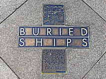 A Memorial Map Plaque To The Buried Ships. Stock Photos