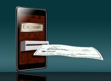 Free A Mobile Cell Phone Is Being Used To Deposit A Check Into The Bank In This Illustration. A Phone Can Be Used Like A Night Deposit Royalty Free Stock Images - 138680469