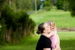 Free A Mother Embraces Her Daughter Outdoors Stock Photography - 23002282