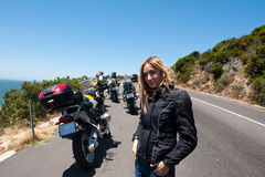 A Motorcycle Portrait Of A Young Woman. Royalty Free Stock Photos