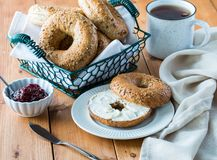 Free A Multigrain Bagel With Cream Cheese. Stock Image - 167004811
