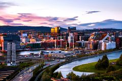 Free A Night View Of Sentrum Area Of Oslo, Norway, With Barcode Buildings Stock Photography - 160943252