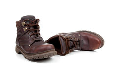 A Pair Of Brown Leather Hiking Boots On White Royalty Free Stock Photos