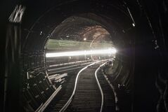 Free A Passing Train The Lights Of The Metro Tunnel. Stock Photography - 172809802