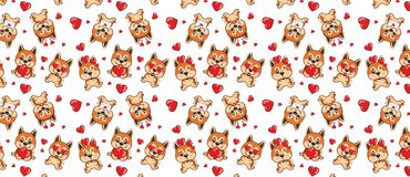Free A Pattern With Small Brown Dogs With Red Hearts On A White Background. Royalty Free Stock Image - 123353226