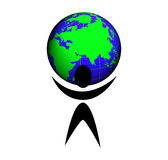 A People With Planet Earth Stock Images