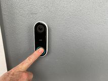Free A Person Pressing A Ring Doorbell Stock Image - 160870151