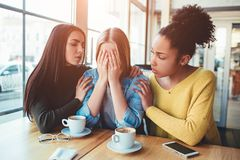 Free A Photo Of Best Friends Not In A Good Mood. One Of Them Is Crying And The Other Two Don`t Know What To Do And How Can Stock Image - 110384451