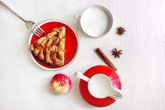 Free A Piece Of Apple Cake With Cinnamon, Fresh Apple, Milk Cup And Jug On The Light Wooden Table. Top View Royalty Free Stock Images - 156067689