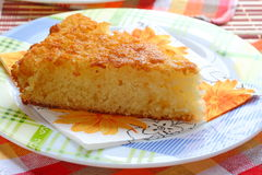 A Piece Of Semolina Cake On A Plate. Stock Photography
