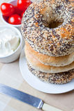 A Pile Of 4 Mixed Bagels Royalty Free Stock Photography