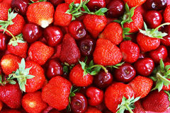 A Pile Of Strawberry And Cherry
