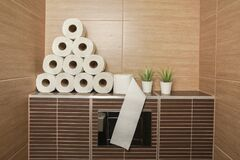 Free A Pile Of White Recycled Toilet Paper On The Shelf In The Bathroom Royalty Free Stock Photos - 178255088