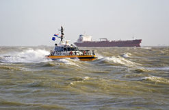 A Pilot Boat In The Storm Stock Image