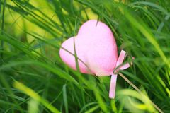 Free A Pink Love Shaped Foam Toy Gift Lying On Green Grass Lawn In Summer Spring Autumn, Close Up Royalty Free Stock Image - 119877176