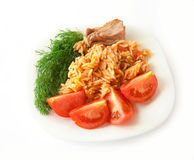 A Plate Of Food - Pasta With Tomato And Dill. Isol Stock Photos