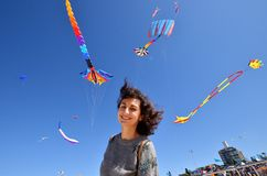 Free A Portrait Of A Young Woman With The Kites. Festival Of The Winds, Bondi Beach, Sydney, Australia Stock Photo - 144360360