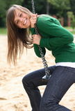 A Portrait Of The Gorgeous Girl On A Swing Stock Photo